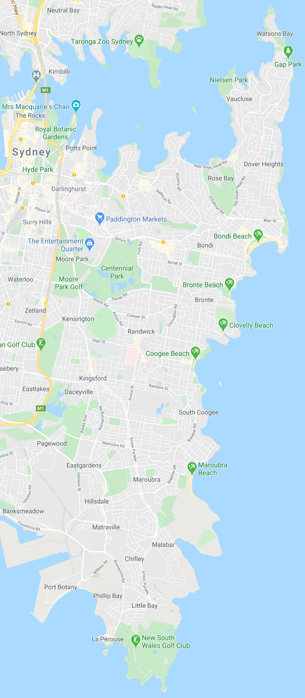 Eastern suburbs Sydney map